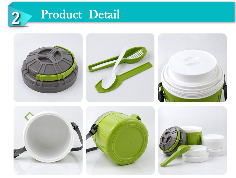 Unique outdoor easy carry travel thermos food warmer jar lunch box (CPUG025)