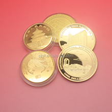 alloy matrial folk art smooth gold plated with engraved logo high quality metal coins