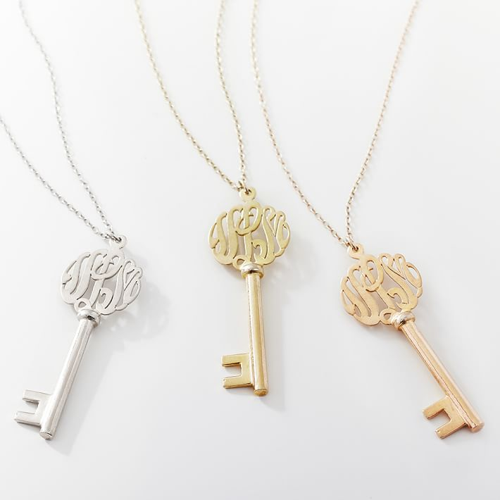Fashion Cute Monogramed Alphabet Charm Key Necklace