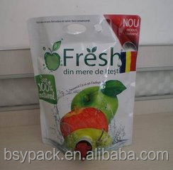 Mango. Oranges, grapes, peach,apple juice bag in box with ziplock