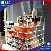 China supplier Yageli custom made 3 tier display stand wholesale mac acrylic makeup organizers acrylic cosmetic display