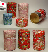 Made in Japan tea canister W-105 stuck classic Japanese paper preserved tea for gift