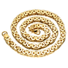 Bracelet and Necklace Byzantine Flat Chain 18K Real Gold Plated Jewelry Sets