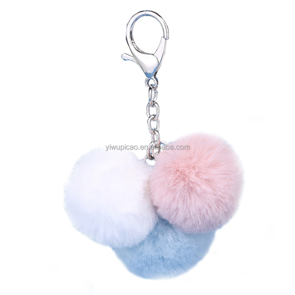 New Style Three Mix Color Cheap Pom Pom Key Chain
