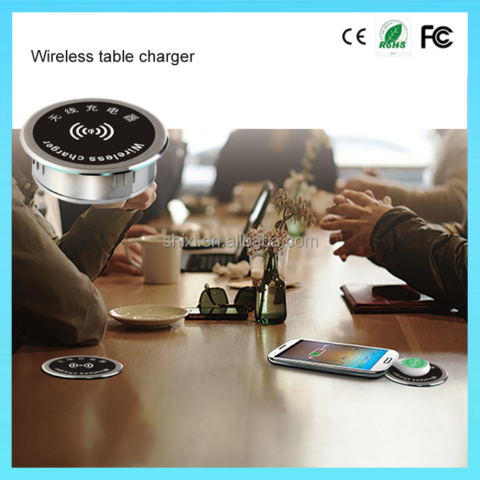 Standard 53mm Office Desktop Coffee Table Furniture Qi Wireless Cellphone Mobile Phone Charger For Furniture