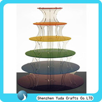 disposable colorful acrylic cakes tower stand tall 6 tiers acrylic wedding cakes shelves plexiglass cupcakes display stand MOQ