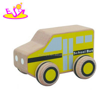 Small wooden toy school bus for kids,Cartoon wooden school bus toy for children,Mini wooden bus car for promotion W04A116