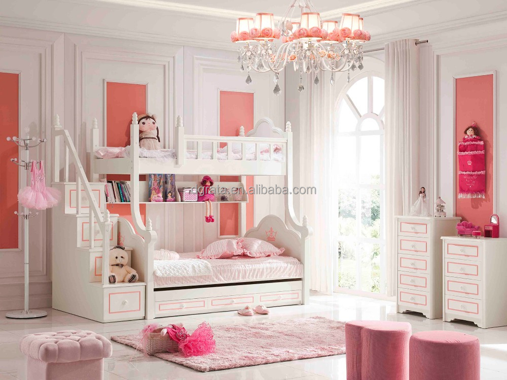 2016 Sweet wooden bunk bed set was made by oak board for girls
