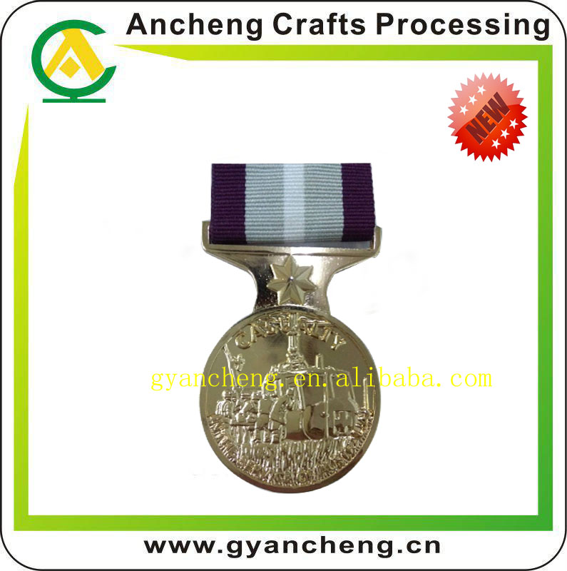 Folk Art Style and Fairy Theme Customized Metal Award Printed Sporting 3D Gold Medal with Printed Logo Ribbon