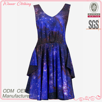 Ladies' cotton print dresses high quality direct manufacture ladies fashionable roman style dress