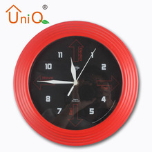 11-inch Plastic Red Frame Stylish Contemporary Wall Clock