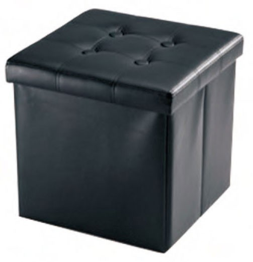 Black Faux Leather Ottoman Coffee Table With Storage Collapsible Square Cube