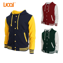 2017 Wholesale Men Custom Cotton Fleece Baseball Jacket Letterman Blank Hooded Varsity Jacket