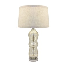 Wholesale Price Opal Off White Fabric Shade And Calabash Balls Clear Glass Table Lamps For Home Decorative