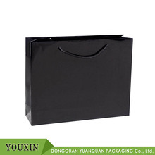 First-class Large Laminated Gloss Black Customized Logo Printed Boutique Paper Bag