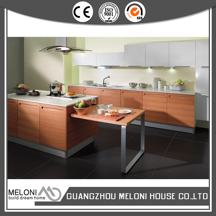 With LED light red brown modular pvc wooden kitchen cabinet export to Indonesia