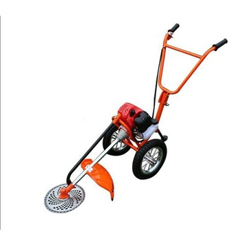 Two hand push type GX35 brushcutter /grass trimmer with two wheels