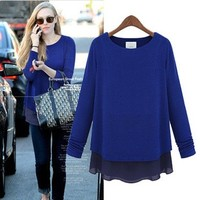 New winter fashion solid color long-sleeved women's shirt temperament noble ladies T-shirt