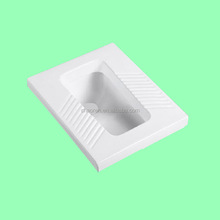 china sanitary ware white color rectangular shape squating pan wc with plastic tank