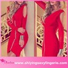 Classic Wholesale Red Wrinkled Cut-out sexy mature elegant mini dress