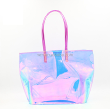 Hot selling custom pvc holographic beach tote bag