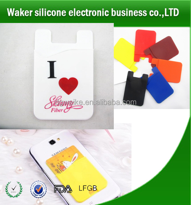 Newest cute custom logo 3M silicone smart wallet with phone stand