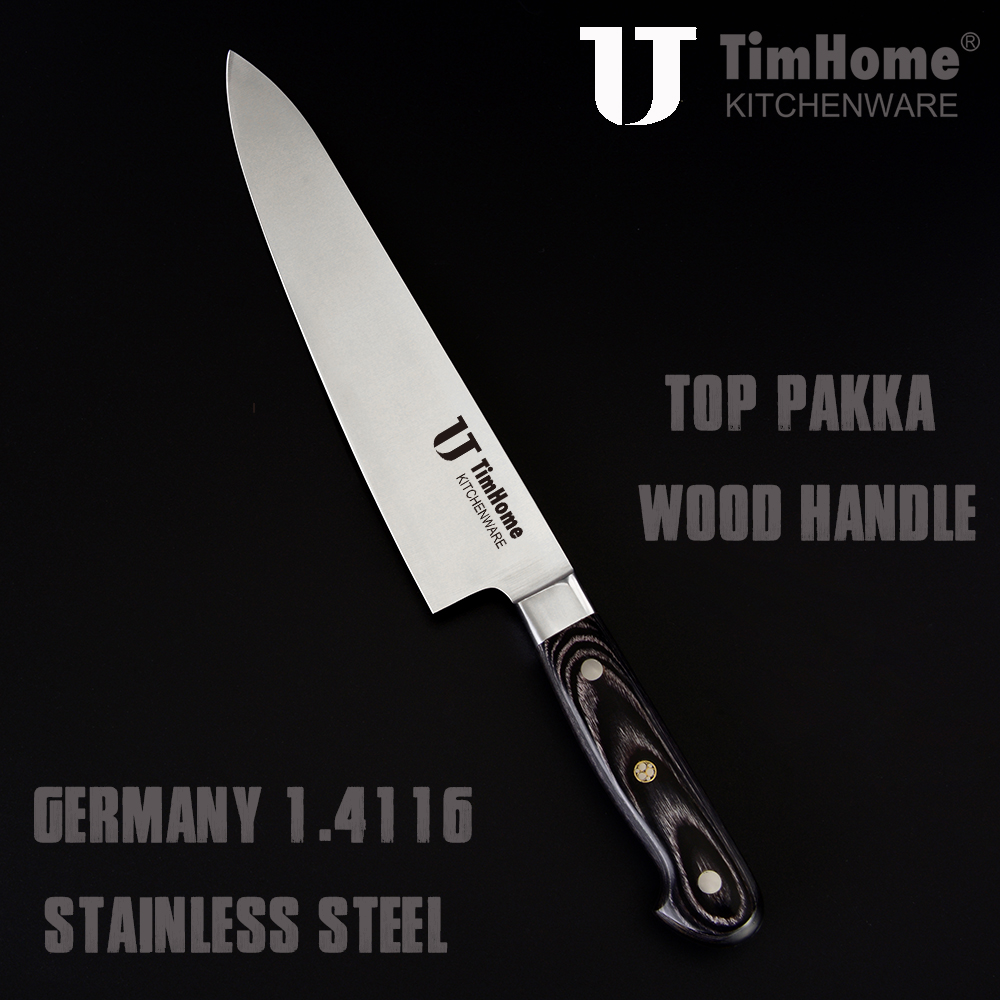 8 inch top quality Germany 1.4116 stainless steel chef knife pakka wood handle large size kitchen knife