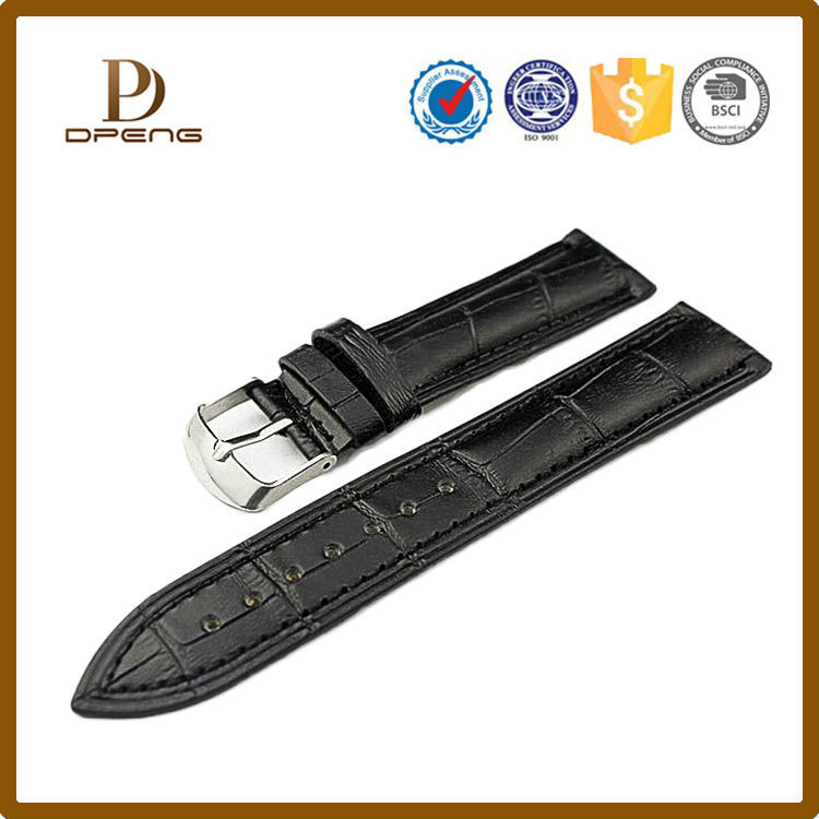 2015 Alibaba factory Custom excellent leather 19mm watch strap