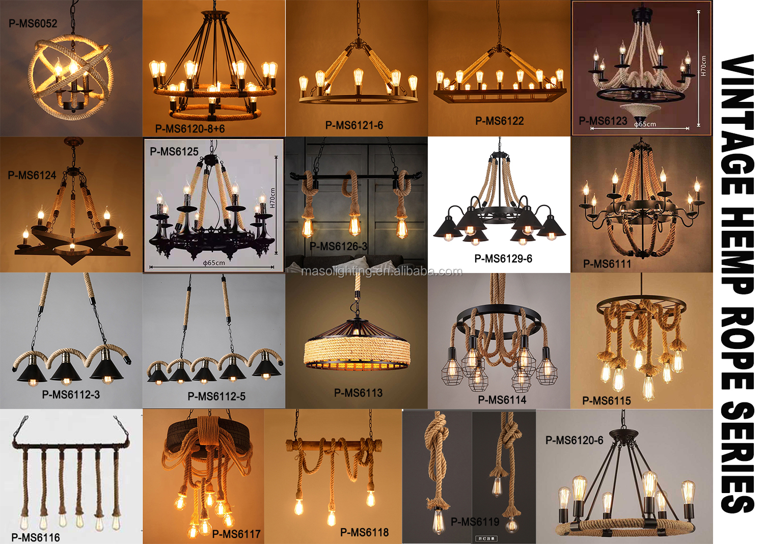 Round Shade Industrial pendant light hand woven chandelier rope bar lighting decor wrought iron ceiling lighting