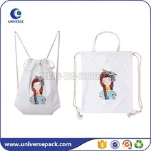 White canvas heat transfer backpack bag with drawstring