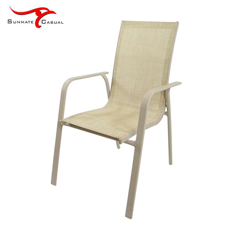 Outdoor Furniture Garden Patio Aluminum Frame High Back Textilener/Sling Fabric Armrest Dining Chair