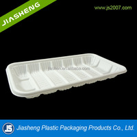 dongguan PP White vacuum forming rectangular plastic foam meat packaging tray with high quality for sale