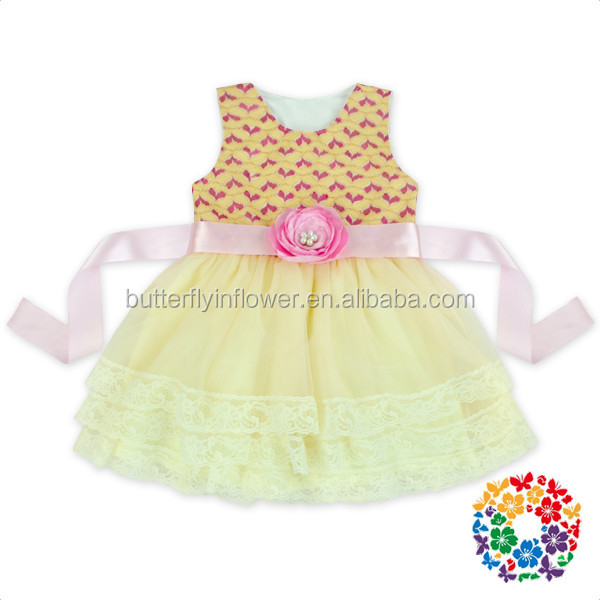 sweet Valentine day light pink heart chiffon baby girl princess party dress with sash
