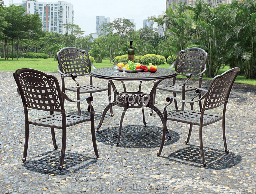 Buiten dineren zeshoek type tafel gegoten aluminium tafel en stoelen buy product on - Tafel en stoelen dineren ...