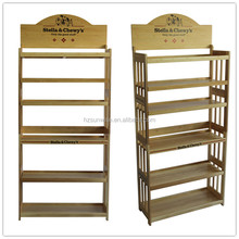 Low price solid wood 6 layer pet dog food display rack for pet store