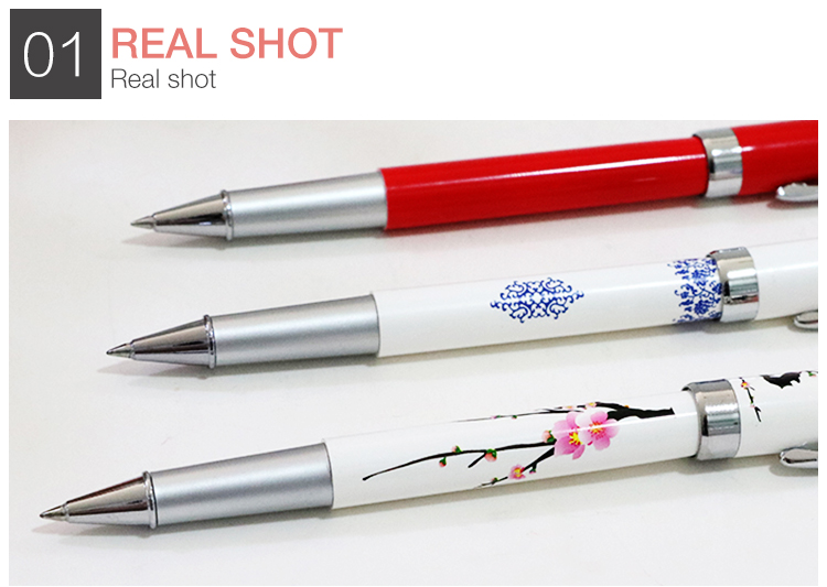 Chinese traditional style business keychain gift gel pen set with box