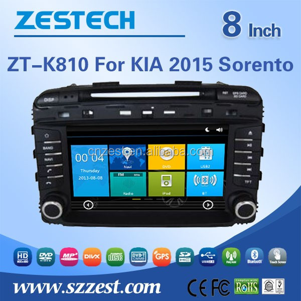 8'' screen size CE/FCC/RoHS certification in-dash china 2 din radio for Kia Sorento 2014 car dvd gps with radio cassette player
