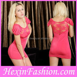 Factory Wholesale Women Hot Fashion Sexy Pink Dress Party Dress