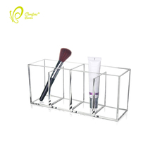 Factory Made Acrylic Holder Organizer Clear 4 Makeup Brush Holder for Cosmetic