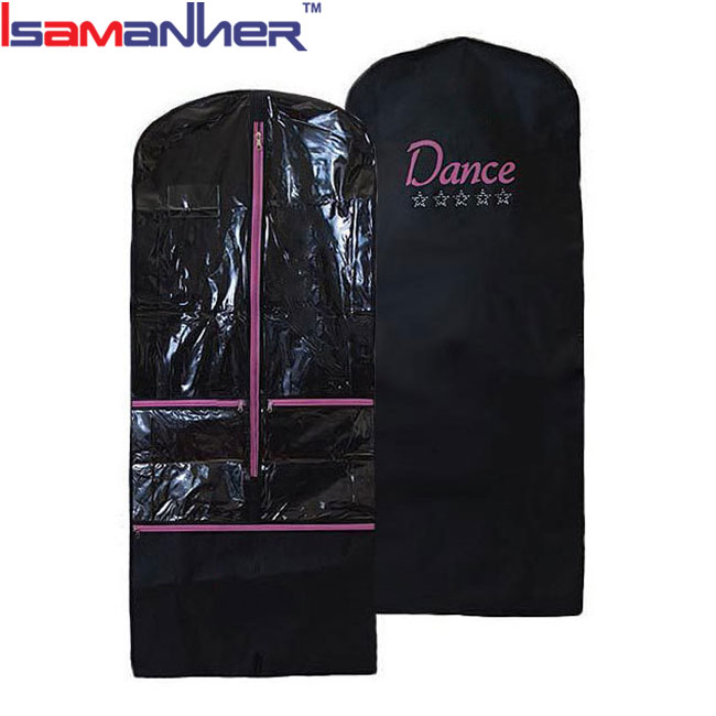 Dance dress garment bag non-woven pvc clear garment bags with pockets