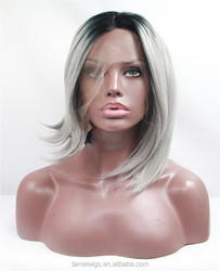 S0207 lace front afro hair wigs grey color straight bob wigs hair short