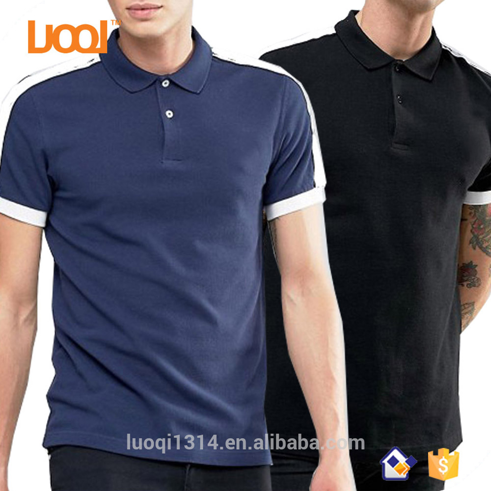 2017 New Design 100% Cotton Pique 200g Fit White And Black Splice Plain Polo Neck Custom Men Polo Shirt Black