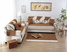 Brown color, Ice silk Non-Slip Quilted sofa mat, Sofa Furniture Protector
