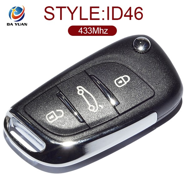 ID46 chip fob key remote for Peugeot 433Mhz 3 button car control key AK009030