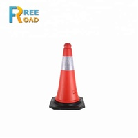 50cm colorful PE reflective flexible with black rubber base safety roadwork worksite traffic cones