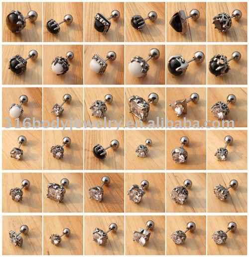 BS0302-2013 new arrival 316L industrial barbell with candy striped plated body jewelry