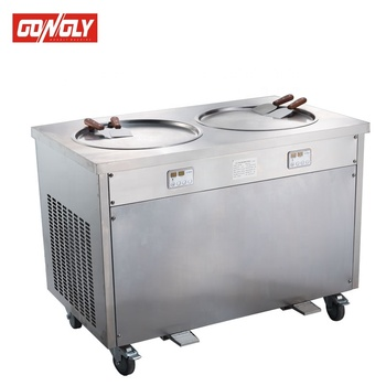 Trade assurance CE approved -30 Degree fried ice cream roll machine with 6 topping storage
