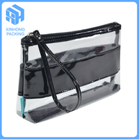 pvc handle bags with black piping/Plastic pvc cosmetic bag with handle/plastic pvc zipper bag