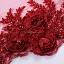 Вышивка розы на сетке 32