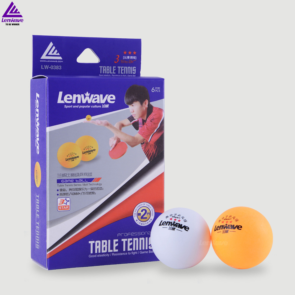 2016 lenwave brand new design high quality personalized 3 star ping pong table tennis ball